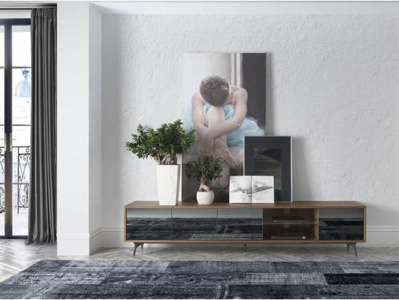 Mueble para tv chapado en nogal con frentes de espejo gris 3048 de Ángel Cerdá