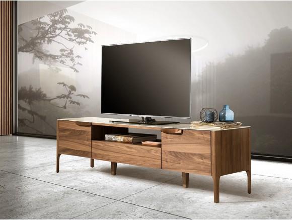 Mueble de televisión chapado en nogal con tapa de mármol porcelánico 3078 Ángel Cerdá Harmony