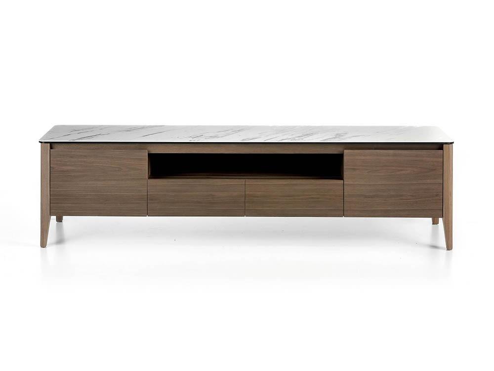 Mueble de televisión chapado en nogal con tapa de mármol porcelánico 3083 Ángel Cerdá Harmony