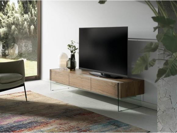 Mueble de televisión chapado en nogal con laterales de cristal templado 3085 Ángel Cerdá Harmony