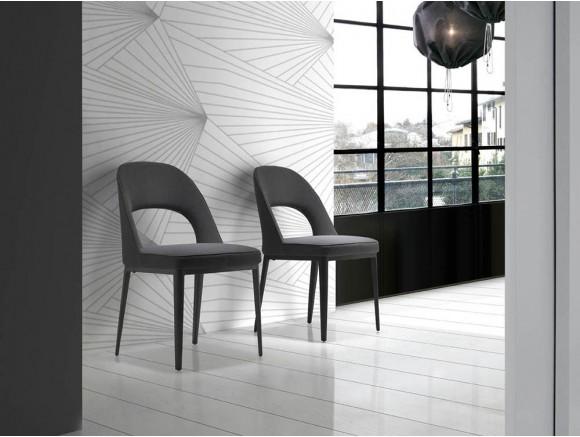 Silla de diseño tapizada en textil con estructura de acero negro Ángel Cerdá 4023 harmony
