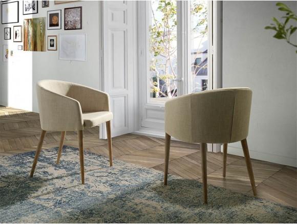 Silla de diseño con estructura de madera y asiento tapizado en textil 4007 Harmony de Ángel Cerdá