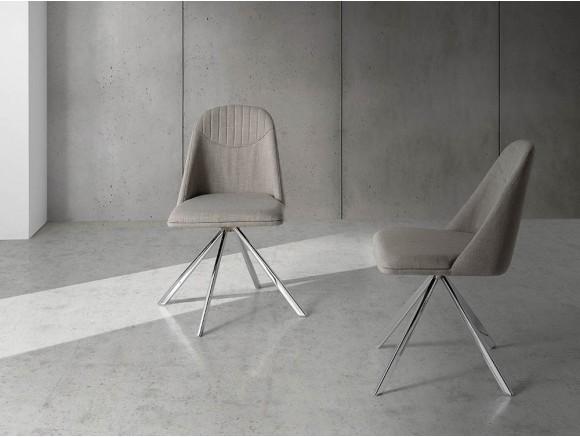 Silla giratoria con pies de acero cromado y asiento tapizado 4020 Harmony de Ángel Cerdá