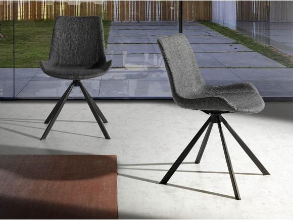 Silla giratoria tapizada en textil con pies de acero negro 4071 Ángel Cerdá Harmony