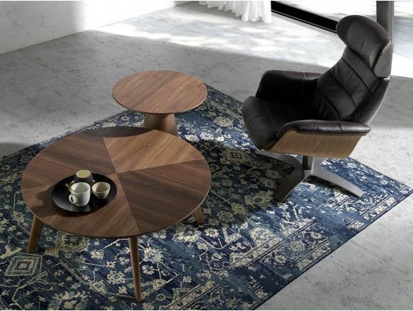 Sillón giratorio relax tapizado en piel 5034 con madera y acero Harmony de Ángel Cerdá