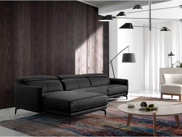 Sofá con Chaiselongue 6058/6059 tapizado en piel, elige si quieres chaiselongue a derecha o izquierda de Ángel Cerdá