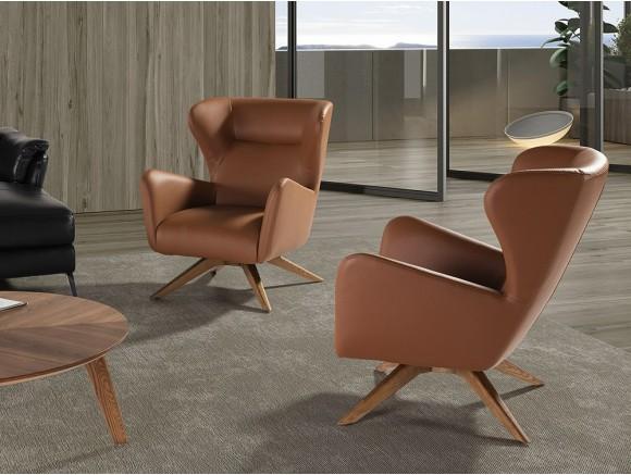 Sillón giratorio tapizado en piel sintética con pies de acero madera en color nogal 5038 Ángel Cerdá Harmony