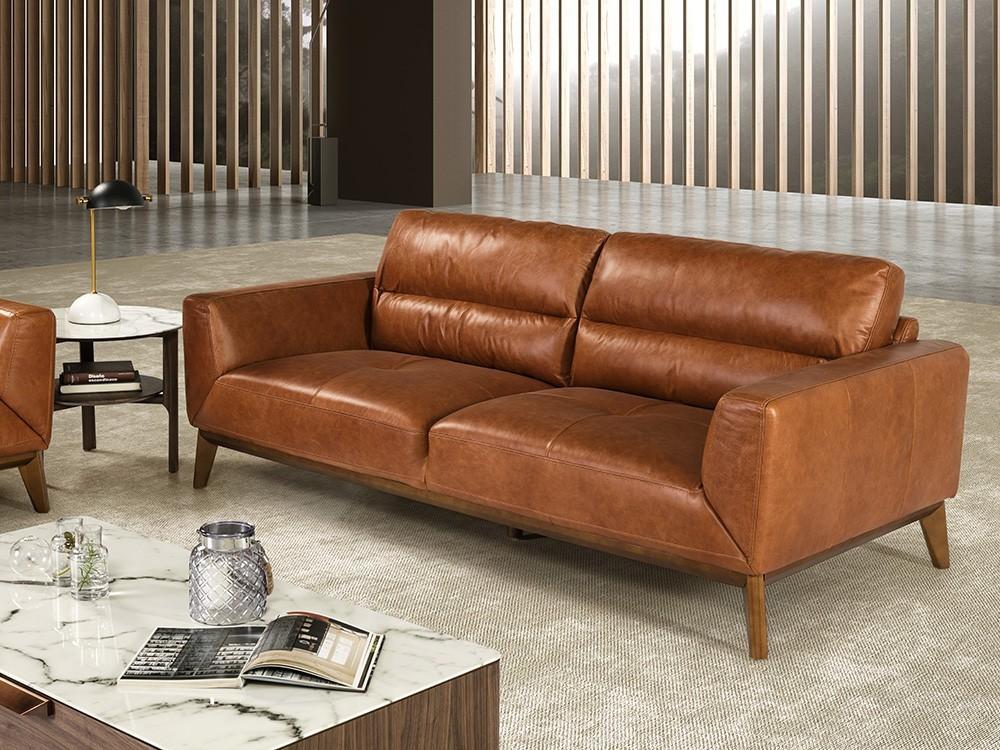 Sofá de 2 plazas tapizado en piel con base de madera color nogal 6046 Ángel Cerdá Harmony
