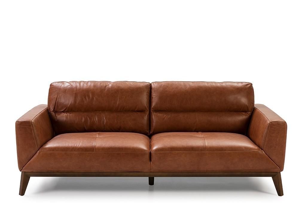 Sofá de 3 plazas tapizado en piel con base de madera color nogal 6047 Ángel Cerdá Harmony