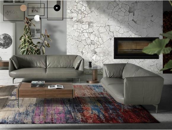 Sofá de 2 plazas en piel gris con patas de acero pulido oscuro 6036 Ángel Cerdá Harmony