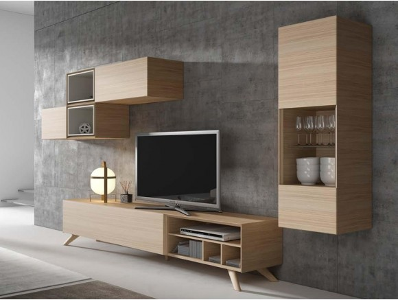 Composición para salón con mueble bajo de estilo nórdico Ginza