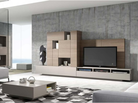 Composición para salón en acabado chapado natural carey Ginza