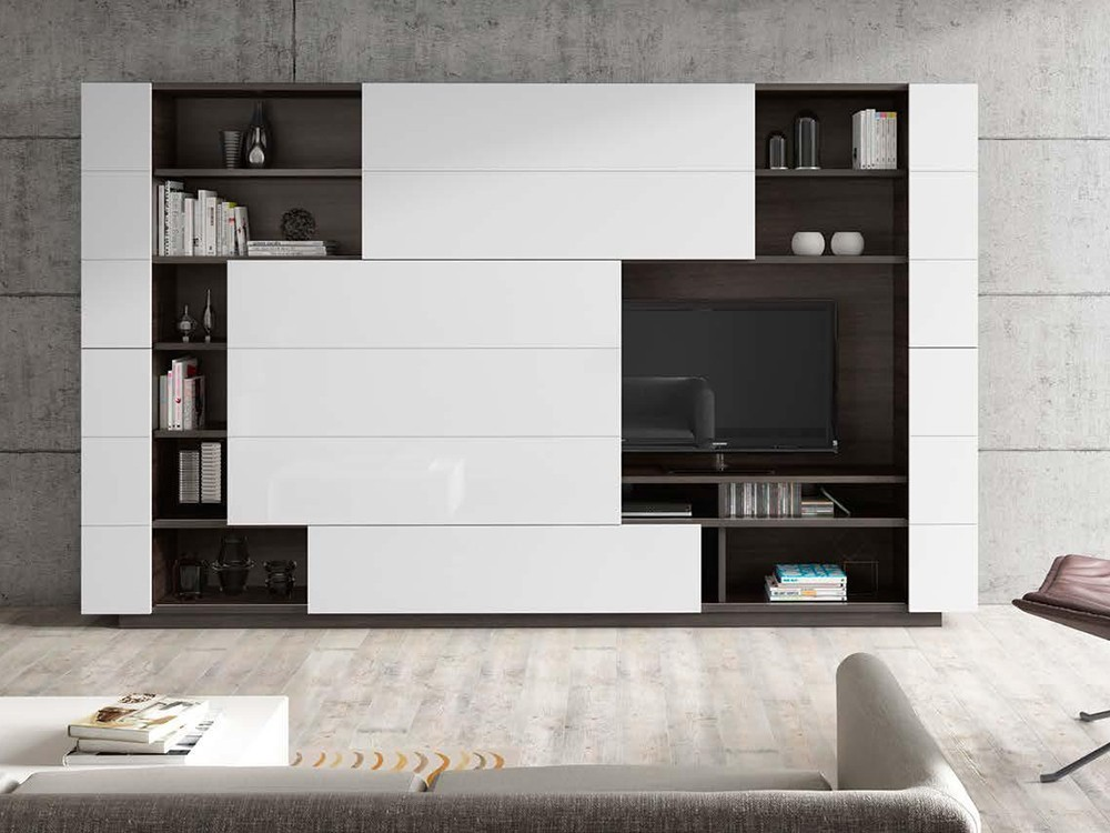 Composición para salón con mueble con puertas correderas Ginza