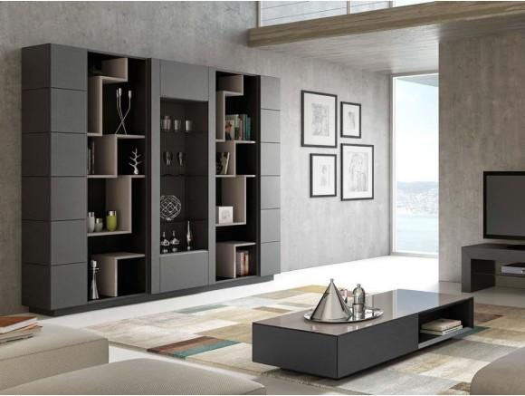 Librería modular con puertas y vitrina Ginza