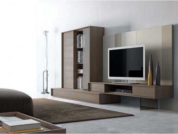 Composición para salón con mueble con librería Next