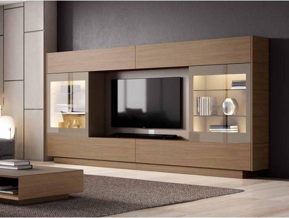 Mueble para salón con dos puertas vitrina correderas y luz led interior Singular