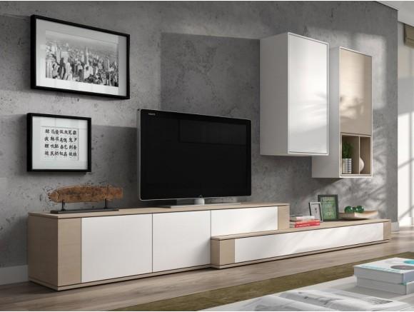 Mueble para salón en acabado decapé y blanco New Nagare