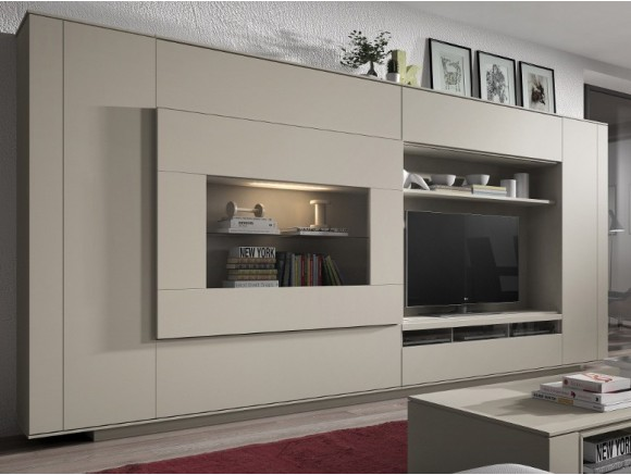 Mueble para salón compacto con puerta vitrina corredera  New Nagare