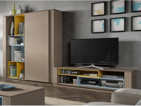 Composición para salón con librería con puerta corredera New Nagare