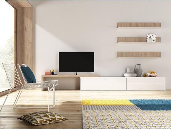 Composición para salón con mueble para tv y estanterías Natur