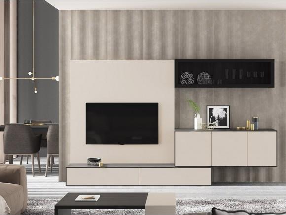 Composición para salón con panel para tv Natur