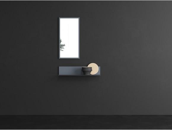 Recibidor estante metálico con trasera de madera y espejo Muss