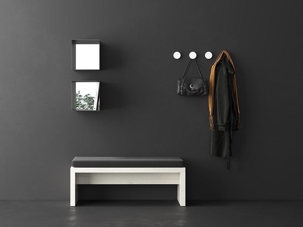 Combinación para recibidor con banco, módulos con espejo y colgadores Muss