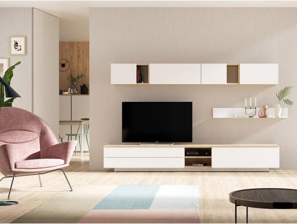 Comoposición para salón con mueble para tv y módulo galería en blanco y noce Muss