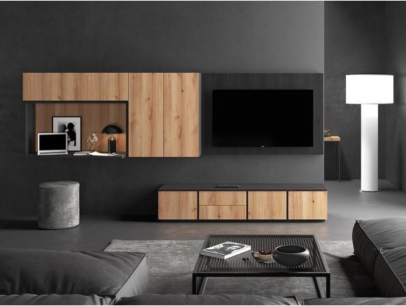 Comoposición para salón con panel para tv y escritorio incorporado Muss