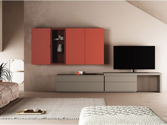 Comoposición para salón con mueble para tv y módulo alto Muss