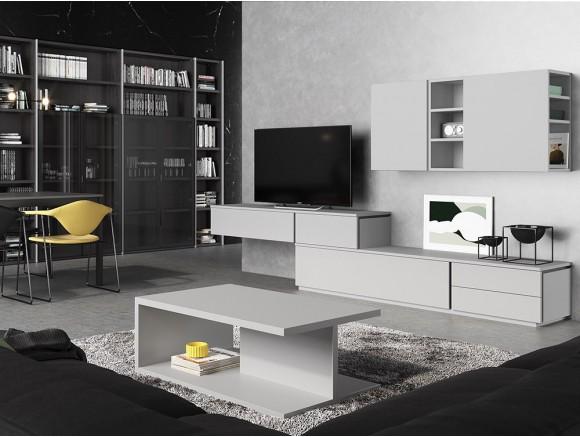 Composición para salón con mueble tv a dos alturas y mueble alto Muss