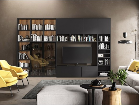 Composición para salón con librería y vitrina Muss