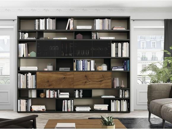 VIVE Librería modular con vitrina y puertas Line 114
