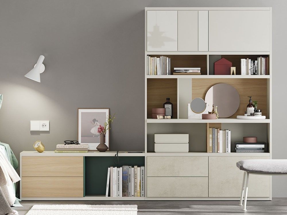 VIVE Librería modular para dormitorio con tocador y mesilla Line 119