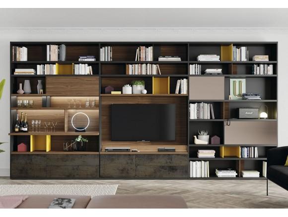 VIVE Mueble modular de salón con iluminación led Line 123