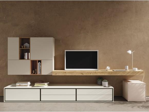 Mueble para salón con zona de trabajo en tonos claros y chapa de roble nudoso New Book
