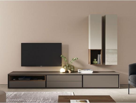 Composición para salón con módulo bajo lacado y dos estantes con puerta verticales New Book