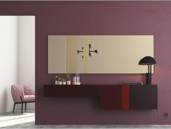 Recibidor suspendido en tono vino con espejo bronce grande On Plus Vive  - 1
