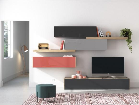 Salón moderno sencillo con estantes y muebles cerrados On Plus Vive  - 1