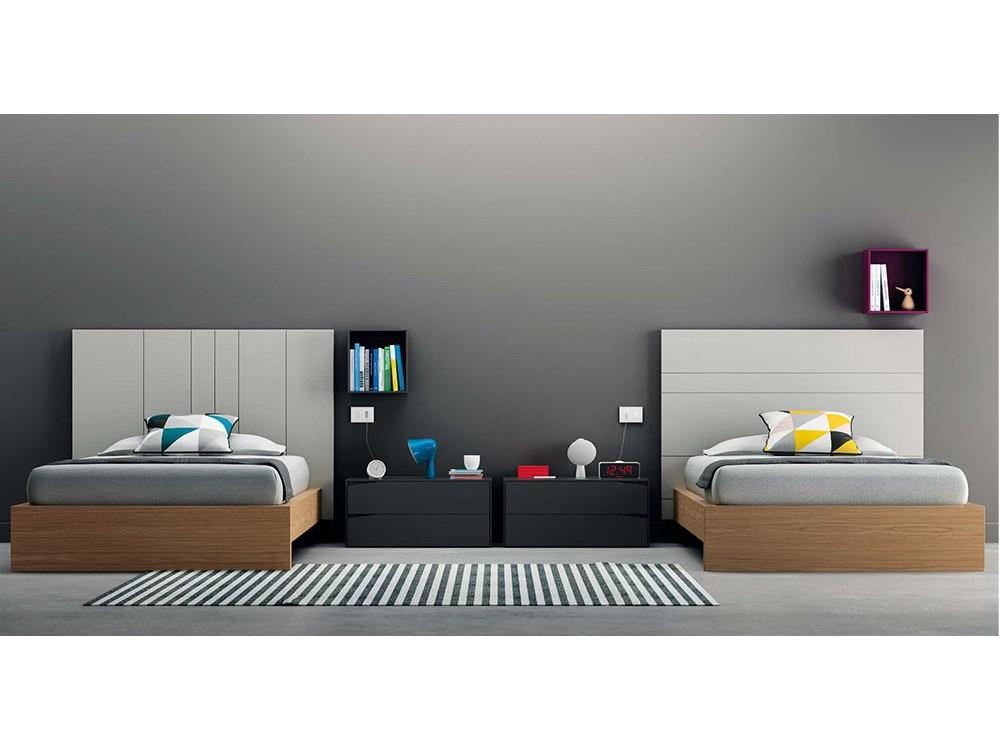 VIVE Dormitorio moderno con doble cama y cabezal rayado combinado On Night D9