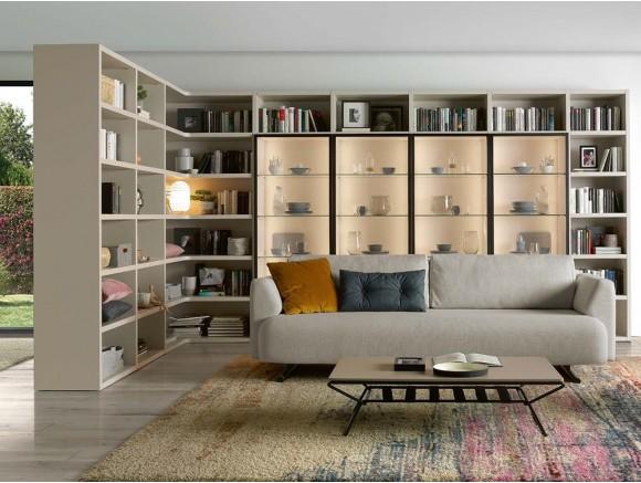 Librería con vitrina iluminada con led y módulo en esquina Ios Time