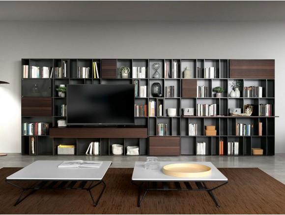 Librería con espacio para la televisión en antracita mate y chapa eucalipto Yoko Time