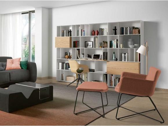 Librería con escritorio incorporado lacada en blanco mate con chapa roble claro Yoko Time