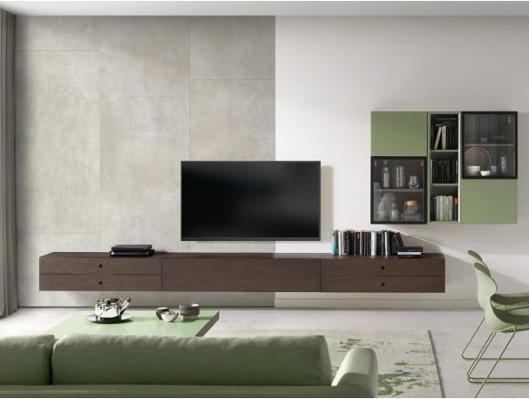 Composición de muebles suspendidos para salón con vitrina en chapa roble y cáctus Q Time
