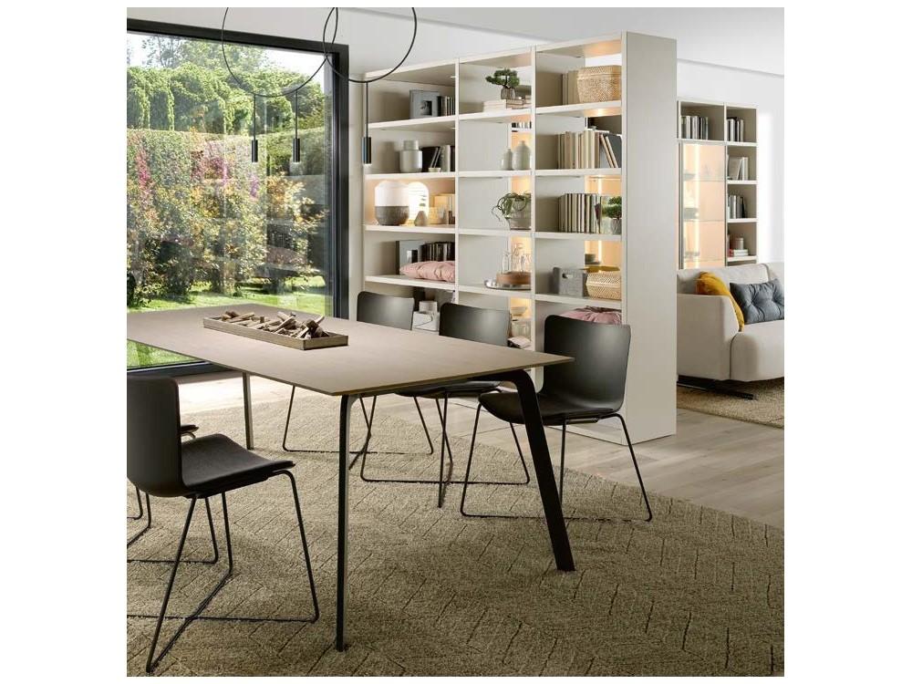 Mesa de comedor con estructura de metal lacado y sobre en chapa de madera o lacado Kone Time Loyra - 3