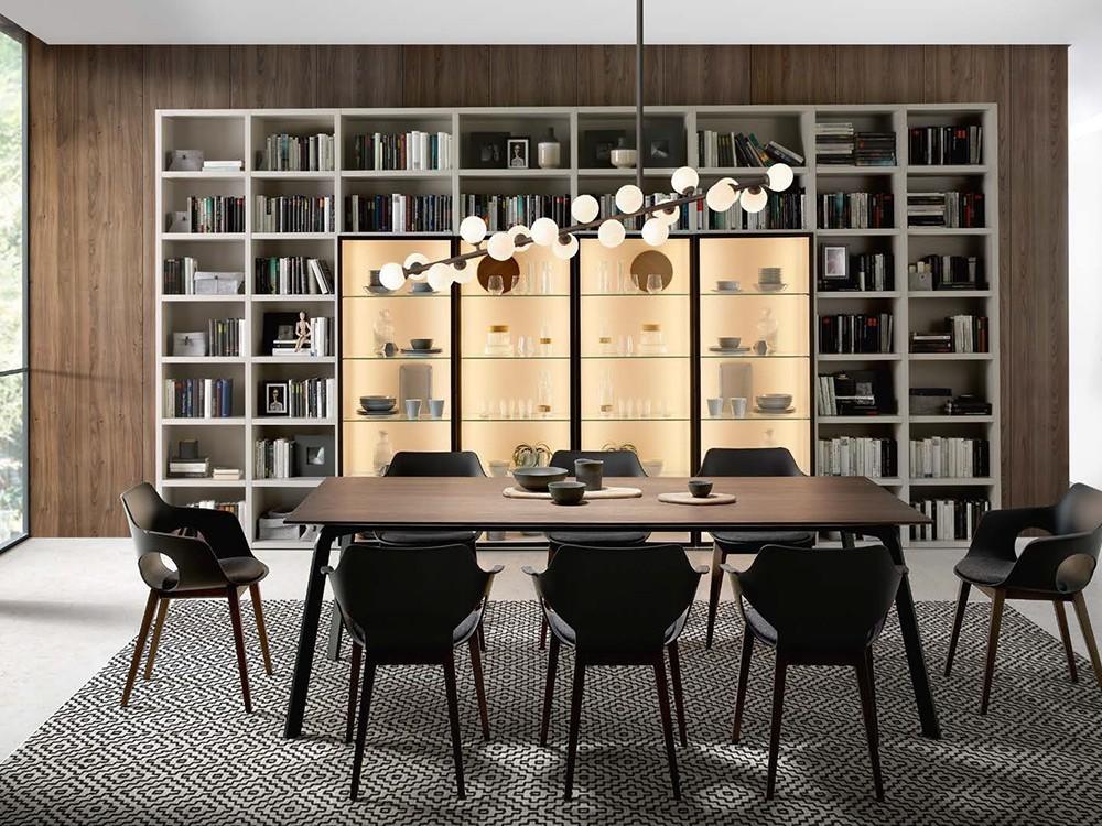 Mesa de comedor con estructura de metal lacado y sobre en chapa de madera o lacado Kone Time Loyra - 4