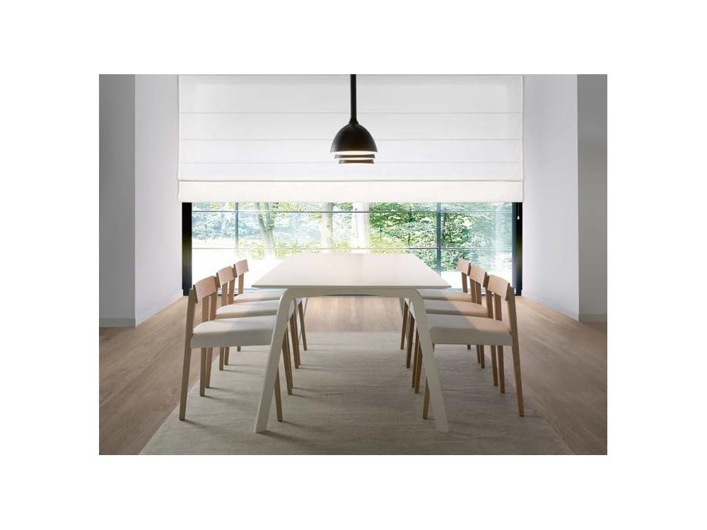 Mesa de comedor con estructura de metal lacado y sobre en chapa de madera o lacado Kone Time Loyra - 2