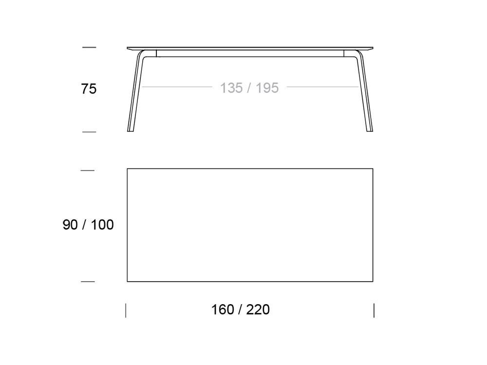 Mesa de comedor con estructura de metal lacado y sobre en chapa de madera o lacado Kone Time Loyra - 7