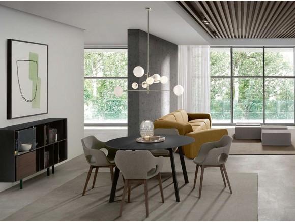 Mesa de comedor con estructura de metal lacado y sobre en chapa de madera o lacado Kone Time