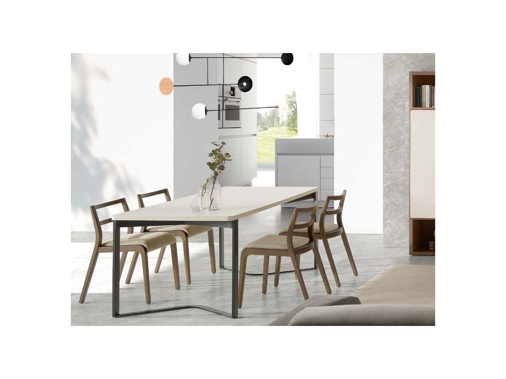 Silla Roa de madera con asiento tapizado en textil Time Loyra - 1